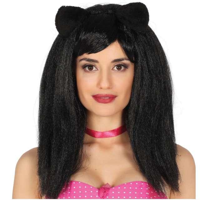 """Peruka party """"Kocie Uszy"""", czarna, GUIRCA"""