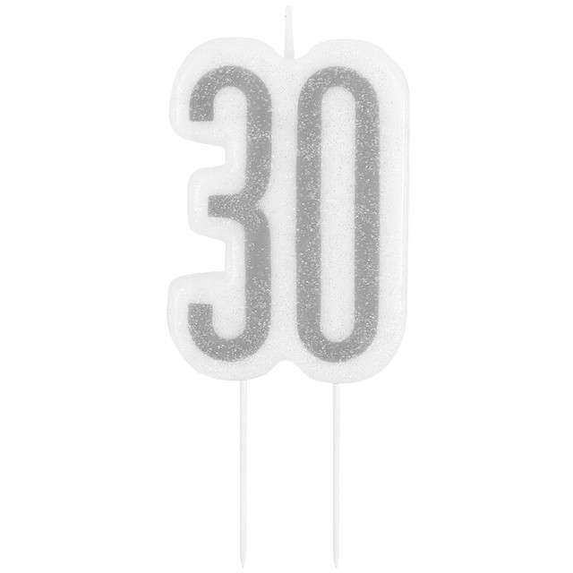 """Świeczka na tort """"30 Urodziny - Glitz"""", srebrna brokatowa, UNIQUE, 10 cm"""