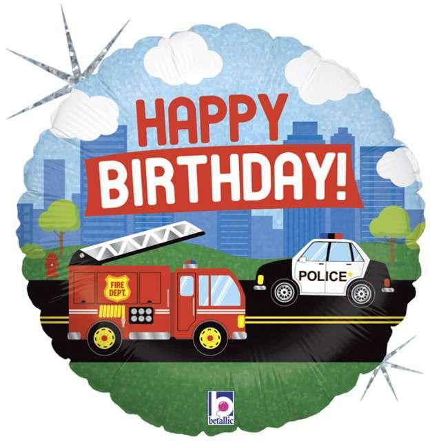 """Balon foliowy """"Straż Pożarna - Happy Birthday"""", GRABO, 18"""" CIR"""