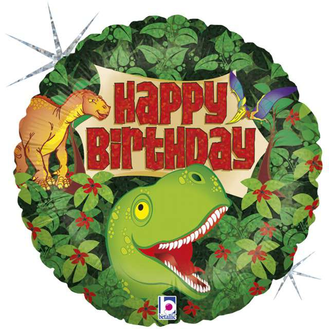 "Balon foliowy ""Dinozaury - Happy Birthday"", GRABO, 18"" CIR"