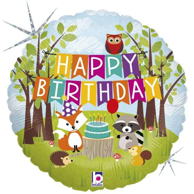 """Balon foliowy """"Happy Birthday - Woodland"""", GRABO, 18"""" CIR"""