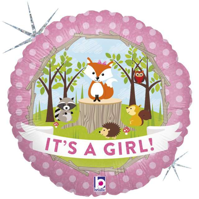 "Balon foliowy ""Its a Girl - Woodland"", GRABO, 18"" CIR"