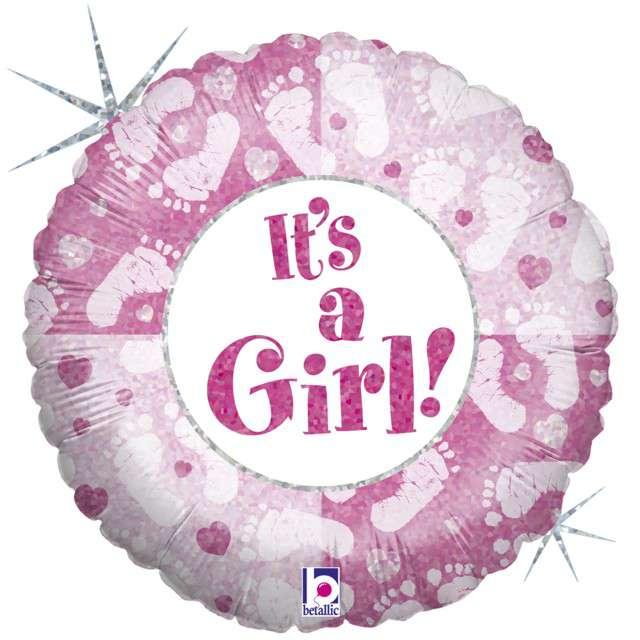 """Balon foliowy """"Stopy - Its a Girl"""", GRABO, 18"""" CIR"""