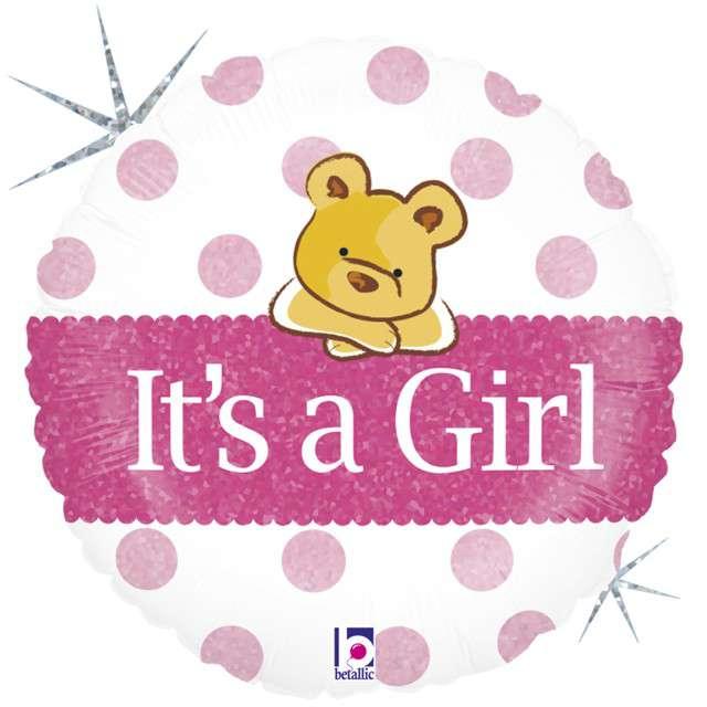 "Balon foliowy ""Misiu - Its a Girl"", GRABO, 18"" CIR"