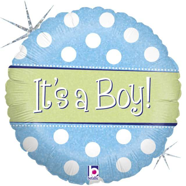 "Balon foliowy ""Polka Dots - Its a Boy"", GRABO, 18"" CIR"