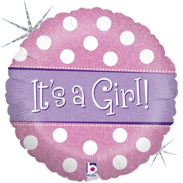 "Balon foliowy ""Polka Dots - Its a Girl"", GRABO, 18"" CIR"