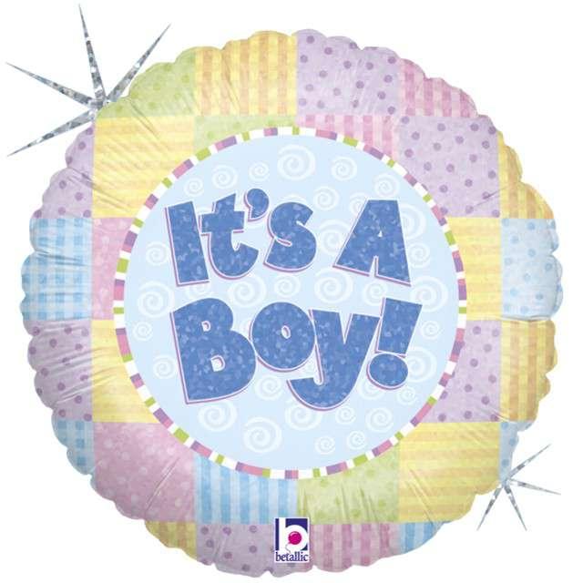 "Balon foliowy ""Patchwork - Its a Boy"", GRABO, 18"" CIR"