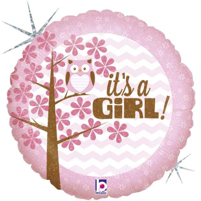 "Balon foliowy ""Sowa - Its a Girl"", GRABO, 18"" CIR"