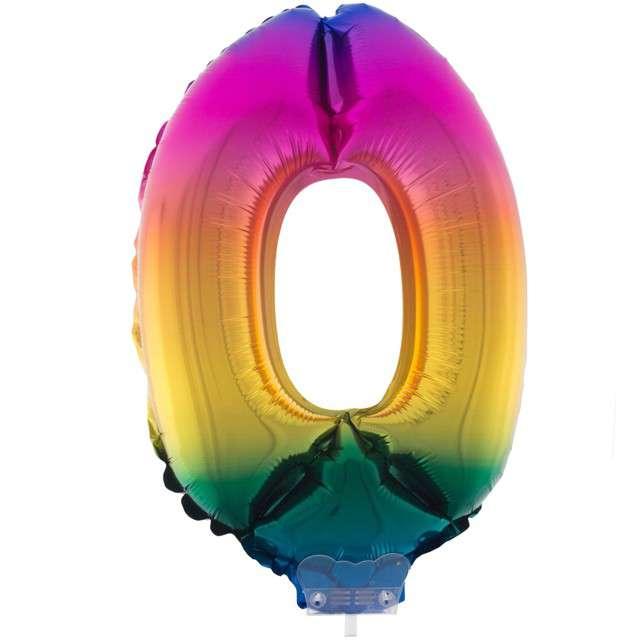 """Balon foliowy cyfra 0, tęczowy, Funny Fashion, 16"""""""