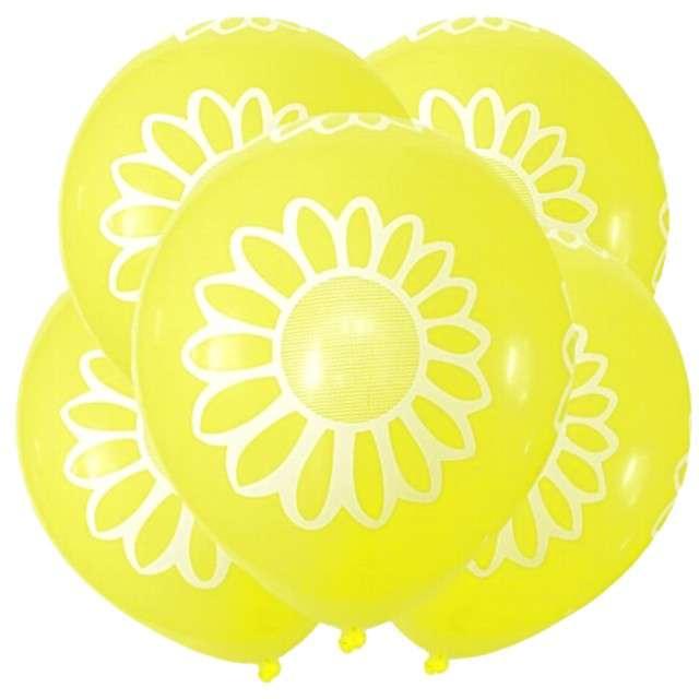 "Balony ""Stokrotka"", 12"", żółte, 5 szt"