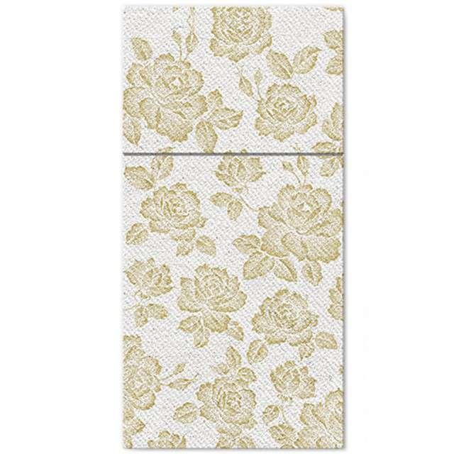 """Kieszonka na sztućce """"Subbtle Roses Gold"""", złota, PAW, 40 cm, 25 szt"""