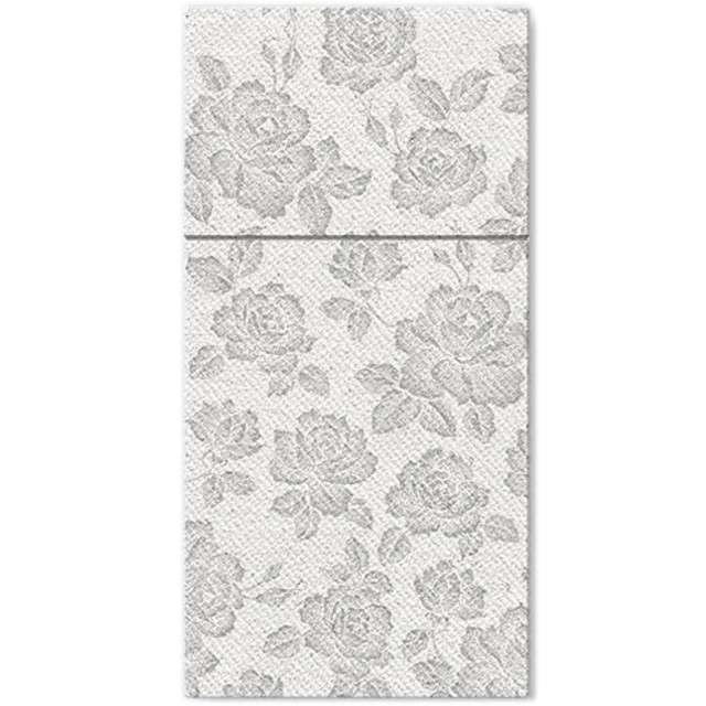 """Kieszonka na sztućce """"Subbtle Roses Silver"""", srebrna, PAW, 40 cm, 25 szt"""
