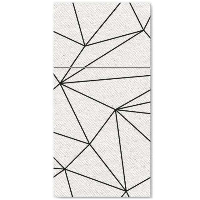 """Kieszonka na sztućce """"Linie Geometryczne, biała, PAW, 40 cm, 25 szt"""