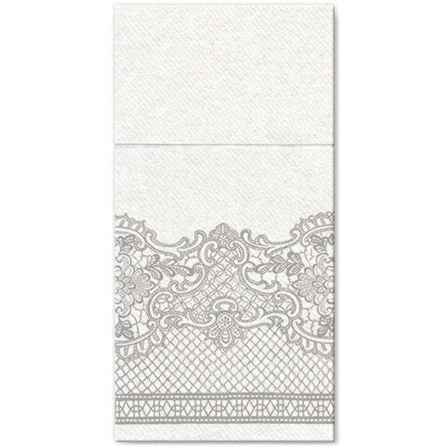"""Kieszonka na sztućce """"Royal Lace Silver"""", srebrna, PAW, 40 cm, 25 szt"""