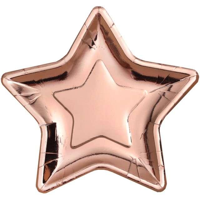 """Talerzyki papierowe """"Gwiazda"""", różowo złoty, SANTEX, 22 cm, 10 szt"""