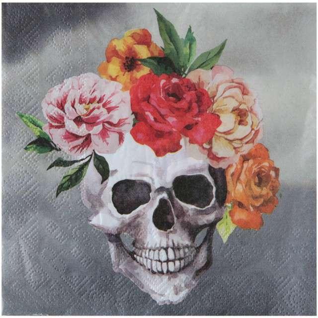 """Serwetki """"Graveyard - Czaszka Day of The Dead"""", SANTEX, 33 cm, 20 szt"""