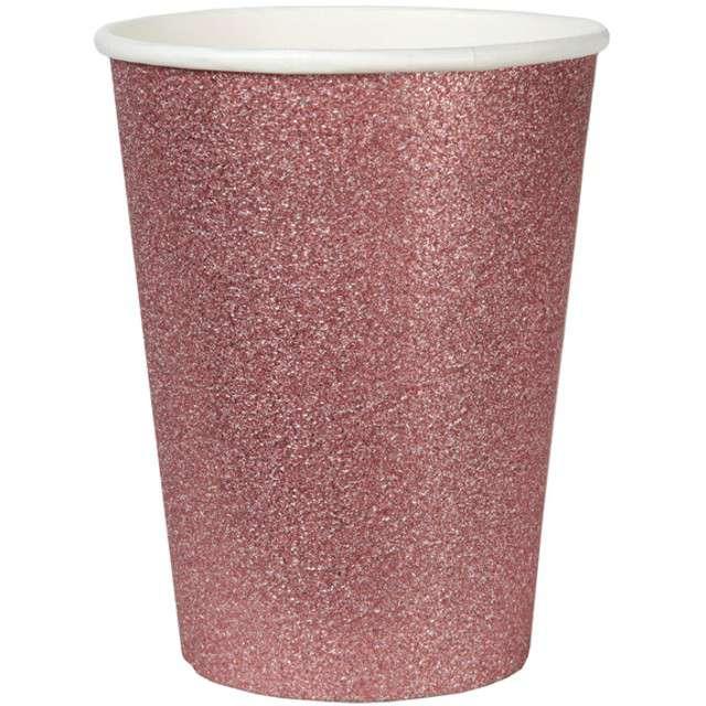 """Kubeczki papierowe """"Brokatowe"""", różowe złoto, SANTEX, 250 ml, 10 szt"""