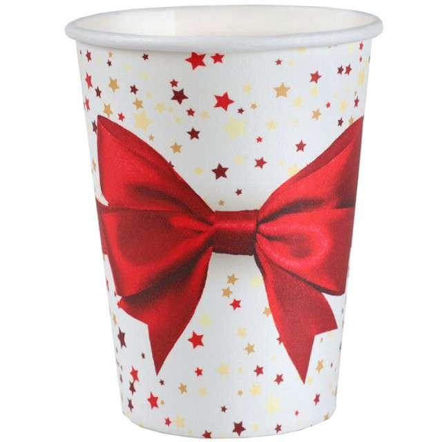 """Kubeczki papierowe """"Prezent Świąteczny"""", SANTEX, 250 ml, 10 szt"""
