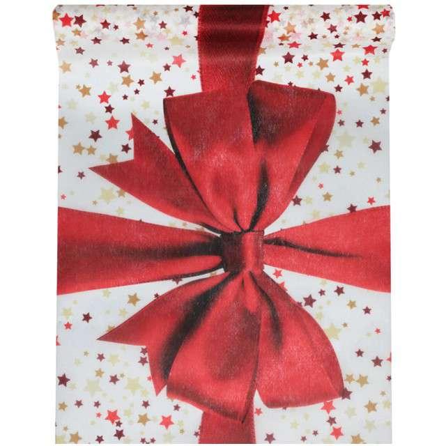 """Bieżnik """"Świąteczna Kokarda"""", czerwony, SANTEX, 500 x 30 cm"""