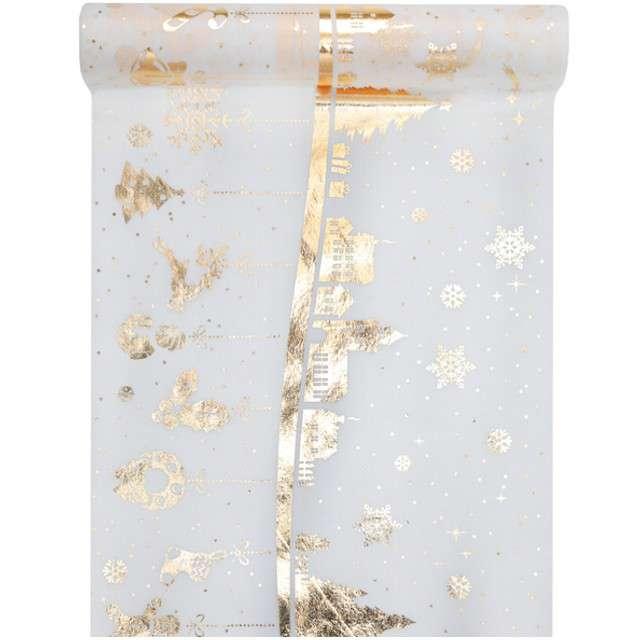 """Bieżnik """"Świąteczna Wioska"""", złoty, SANTEX, 500 x 30 cm"""