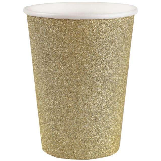 """Kubeczki papierowe """"Brokatowe"""", złoty, SANTEX, 250 ml, 10 szt"""