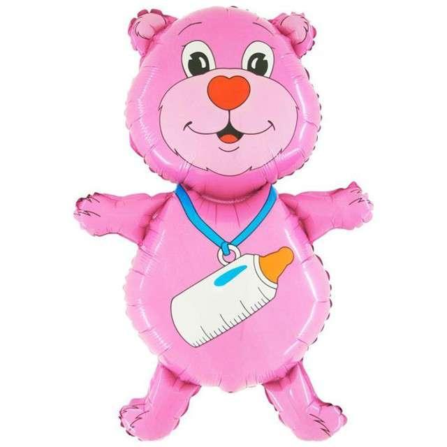 """Balon foliowy """"Miś z butelką"""", różowy, GRABO, 36"""" SHP"""