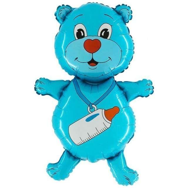 """Balon foliowy """"Miś z butelką"""", niebieski, GRABO, 36"""" SHP"""