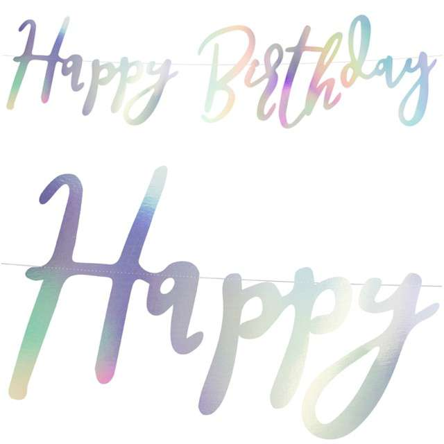 """Baner """"Happy Birthday"""", opalizujący, PartyDeco, 62 cm"""