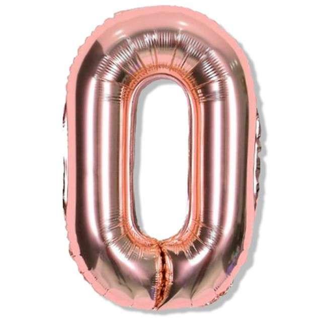 """Balon foliowy cyfra 0, różowo złote, DekoracjePolska, 16"""""""