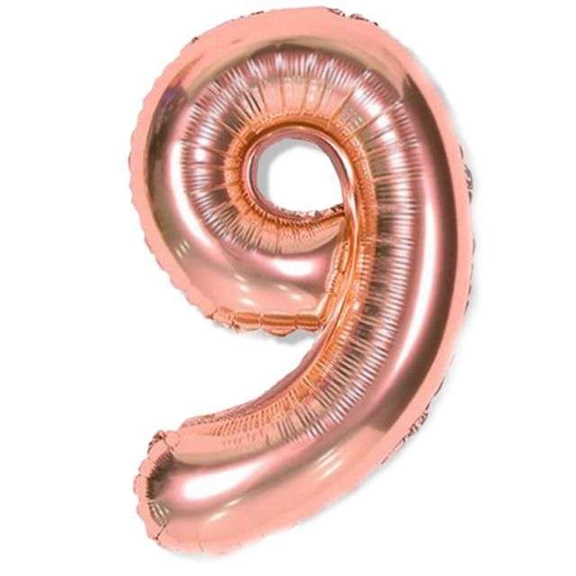 """Balon foliowy cyfra 9, różowo złote, DekoracjePolska, 16"""""""