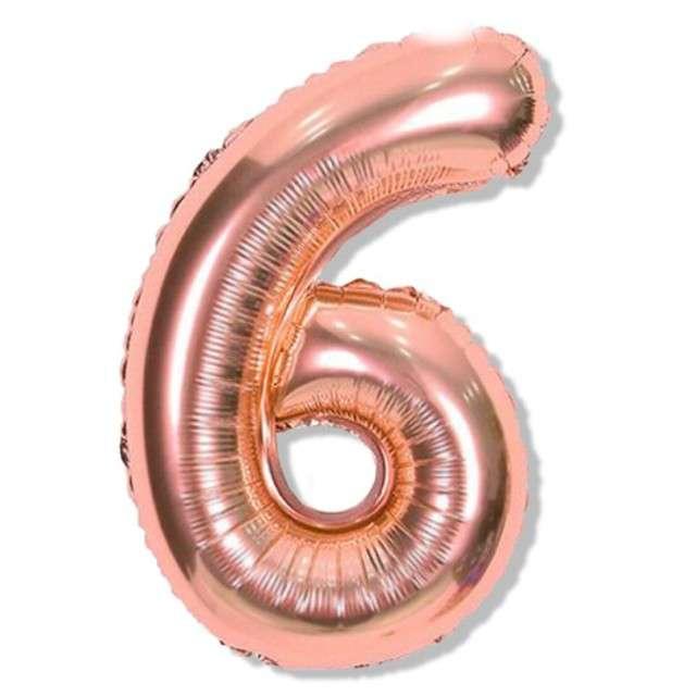 """Balon foliowy cyfra 6, różowo złote, DekoracjePolska, 16"""""""