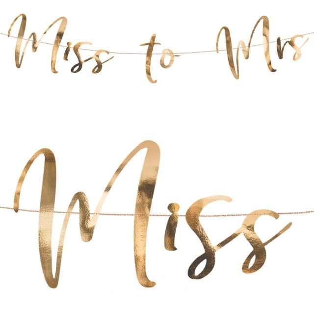 """Baner """"Miss to Mrs"""", PartyDeco, różowo-złoty, 76 cm"""