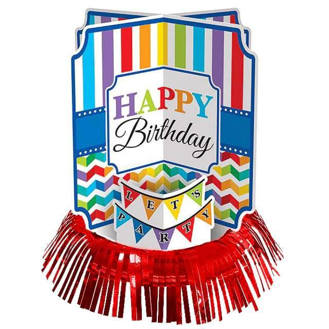 """Dekoracja na stół """"Urodziny - Happy Birthday"""", AMSCAN, 3 szt"""