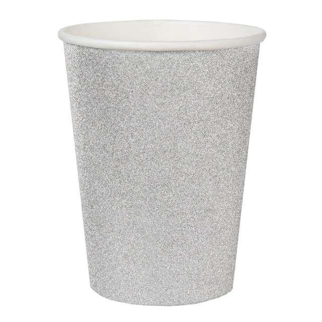 "Kubeczki papierowe ""Brokatowe"", srebrne, SANTEX, 250 ml, 10 szt"