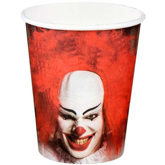 """Kubeczki papierowe """"Horror Clown"""", BOLAND, 250 ml, 6 szt"""
