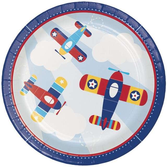 """Talerzyki papierowe """"Samolot - Lil Flyer Airplane"""", CreativeConverting, 23 cm, 8 szt"""