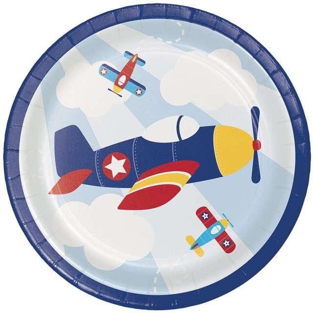 """Talerzyki papierowe """"Samolot - Lil Flyer Airplane"""", CreativeConverting, 18 cm, 8 szt"""