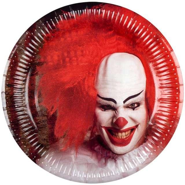 """Talerzyki papierowe """"Horror Clown"""", BOLAND, 23 cm, 6 szt"""
