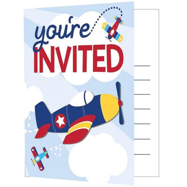 """Zaproszenia urodzinowe """"Samolot - Lil Flyer Airplane"""", CreativeConverting, 8 szt"""