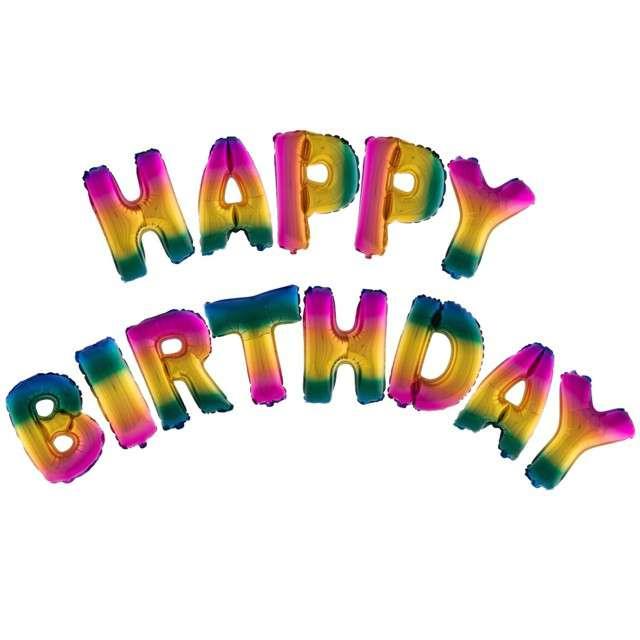 """Balon foliowy """"Happy Birthday"""", teczowy, FunnyFashion, zestaw"""