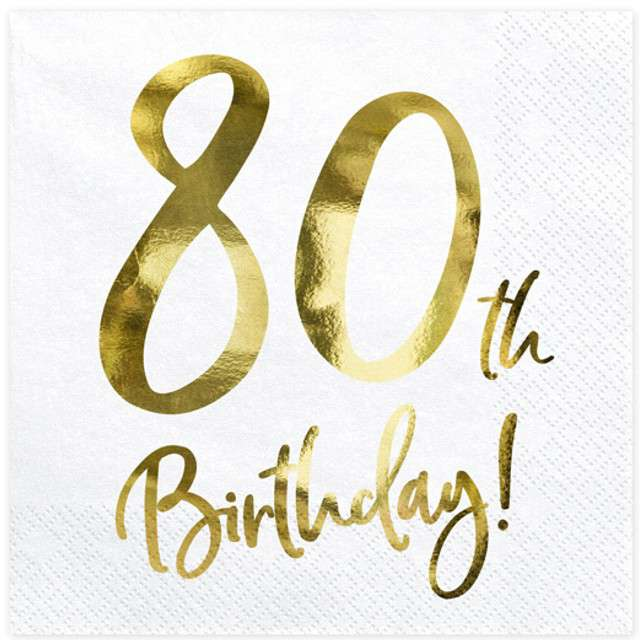 """Serwetki """"80th Birthday - złote urodziny"""", PartyDeco, białe, 33 cm, 20 szt"""