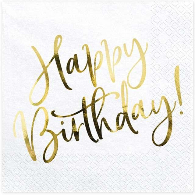 """Serwetki """"Happy Birthday - złote urodziny"""", PartyDeco, białe, 33 cm, 20 szt"""