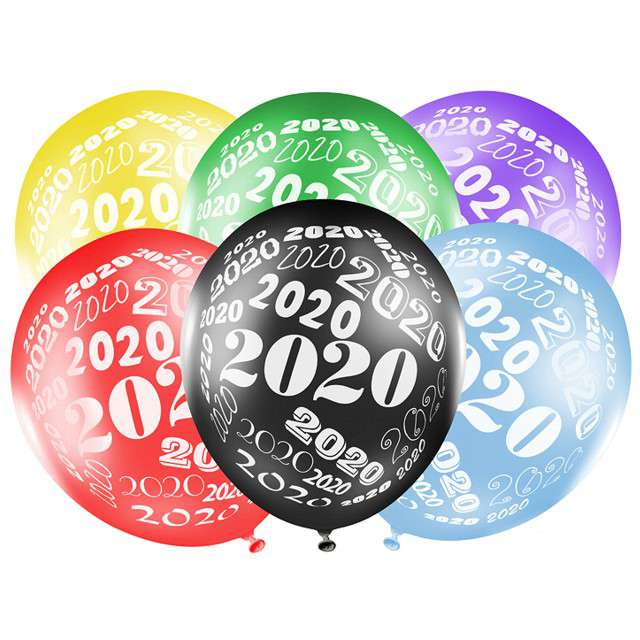 """Balony """"Sylwester 2020"""", mix, STRONG, 12"""", 6 szt"""