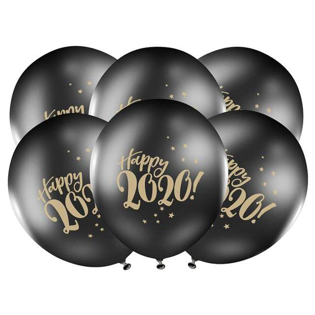 "Balony ""Happy 2020"", pastel czarne, STRONG, 12"", 50 szt"