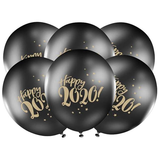 "Balony ""Happy 2020"", pastel czarne, STRONG, 12"", 6 szt"