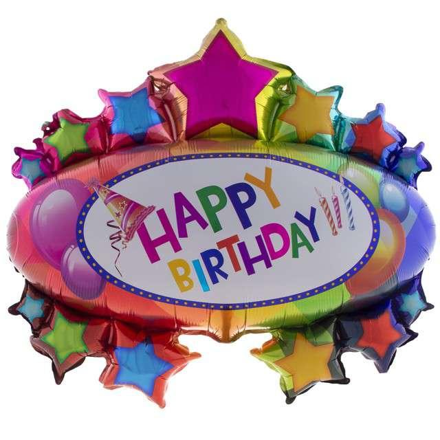 Balon foliowy Happy Birthday Funny Fashion 37 SHP