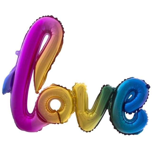 "Balon foliowy ""Love"", tęczowy, FunnyFashion, 40"" SHP"