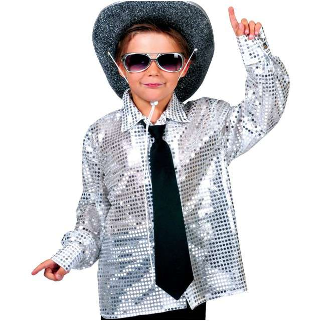 """Strój dla dzieci """"Koszula Disco"""", srebrna, FunnyFashion, rozm. 164 cm"""