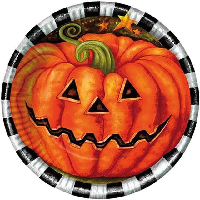 """Talerzyki papierowe """"Dynia Halloween"""", FYASA, 23 cm, 10 szt"""