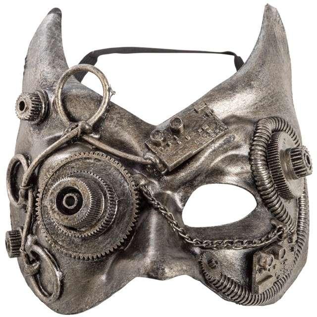 "Maska ""Diabeł Steampunk"", srebrna, Carnival Toys"